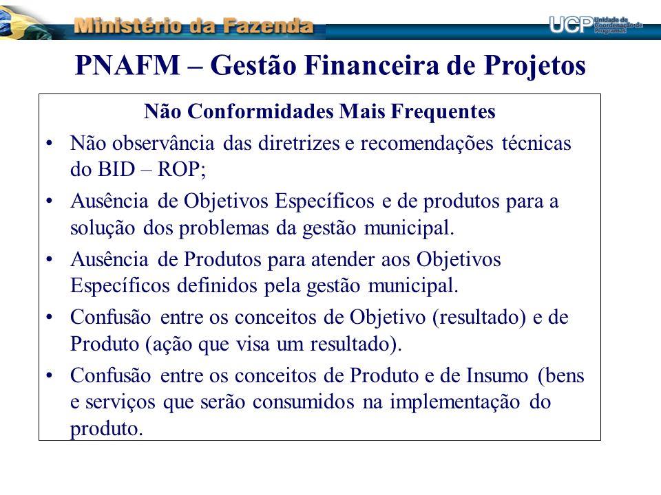 Não Conformidades Mais Frequentes Não observância das diretrizes e recomendações técnicas do BID – ROP; Ausência de Objetivos Específicos e de produto