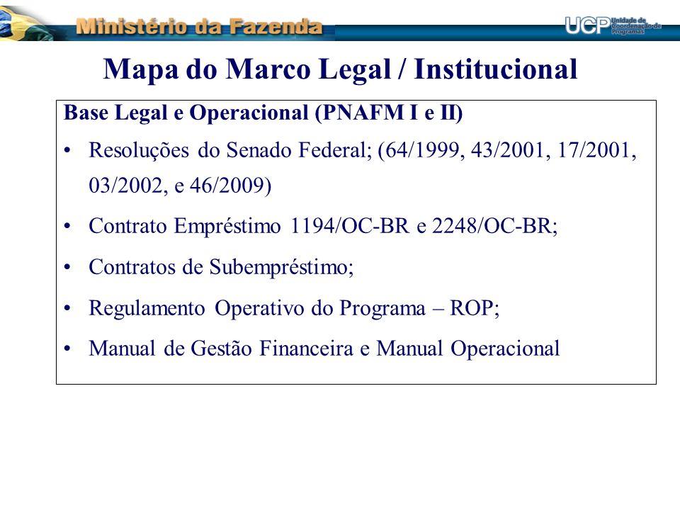 Base Legal e Operacional (PNAFM I e II) Resoluções do Senado Federal; (64/1999, 43/2001, 17/2001, 03/2002, e 46/2009) Contrato Empréstimo 1194/OC-BR e