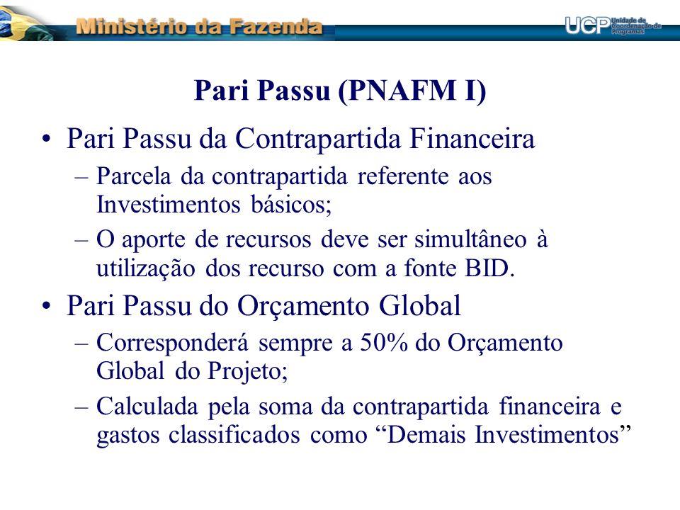Pari Passu (PNAFM I) Pari Passu da Contrapartida Financeira –Parcela da contrapartida referente aos Investimentos básicos; –O aporte de recursos deve