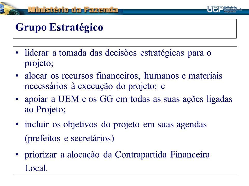 Grupo Estratégico liderar a tomada das decisões estratégicas para o projeto; alocar os recursos financeiros, humanos e materiais necessários à execuçã