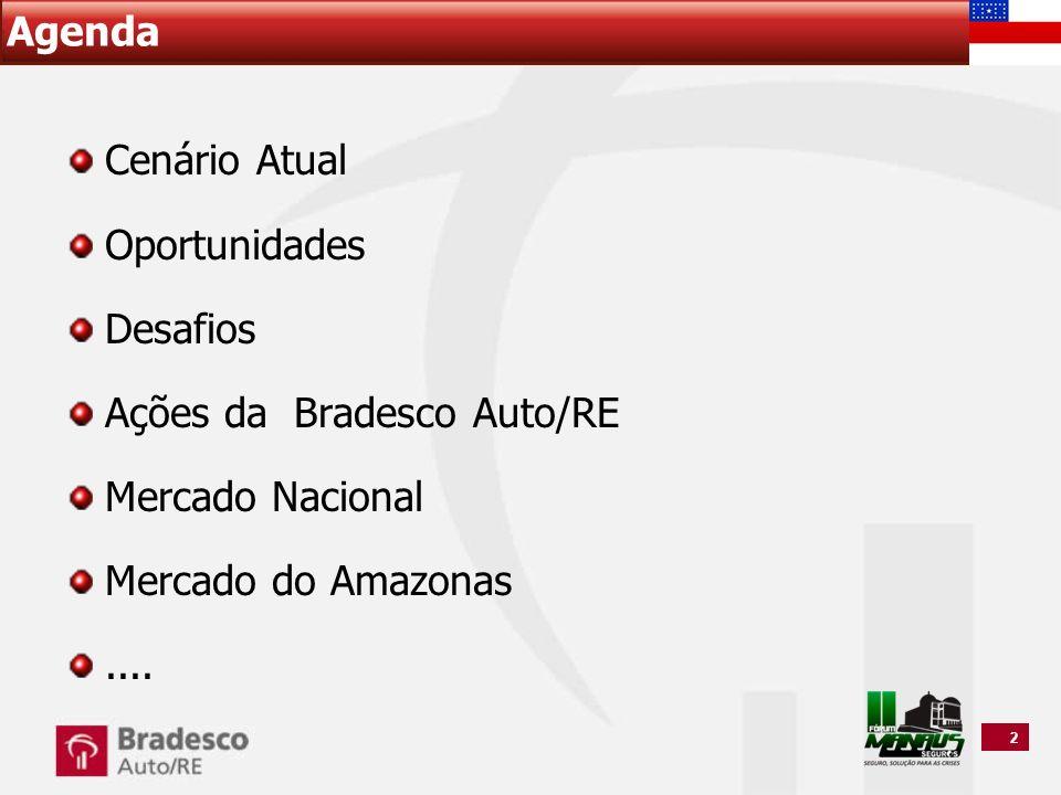 2 Agenda Cenário Atual Oportunidades Desafios Ações da Bradesco Auto/RE Mercado Nacional Mercado do Amazonas....