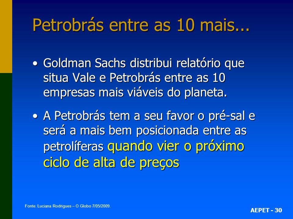 AEPET - 30 Petrobrás entre as 10 mais... Goldman Sachs distribui relatório que situa Vale e Petrobrás entre as 10 empresas mais viáveis do planeta.Gol