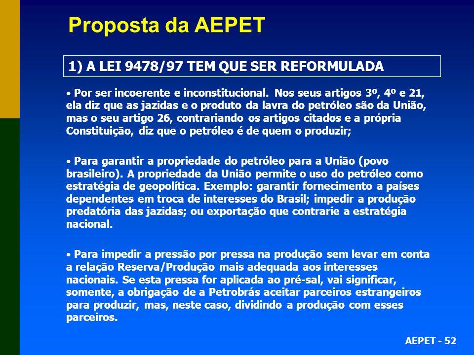 AEPET - 52 Por ser incoerente e inconstitucional. Nos seus artigos 3º, 4º e 21, ela diz que as jazidas e o produto da lavra do petróleo são da União,