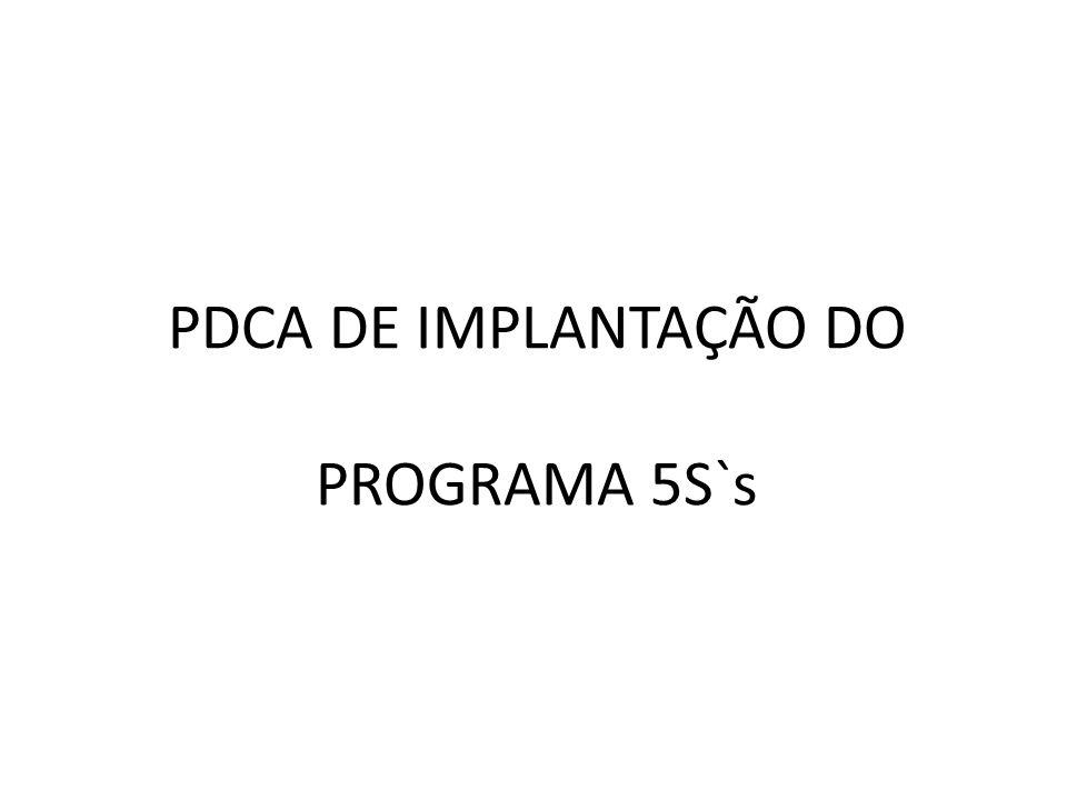 PDCA DE IMPLANTAÇÃO DO PROGRAMA 5S`s