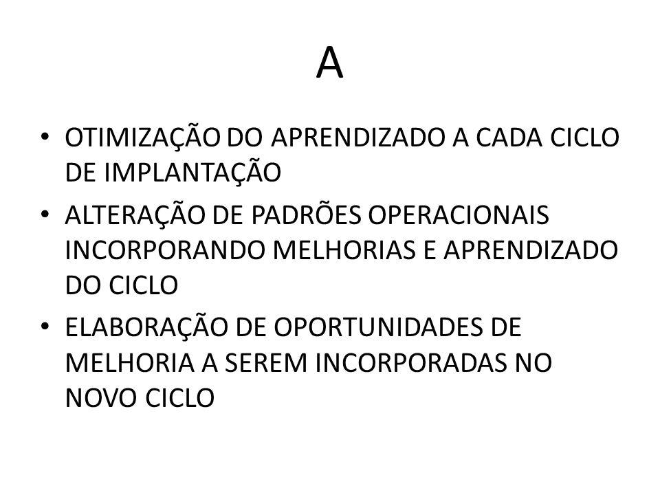 A OTIMIZAÇÃO DO APRENDIZADO A CADA CICLO DE IMPLANTAÇÃO ALTERAÇÃO DE PADRÕES OPERACIONAIS INCORPORANDO MELHORIAS E APRENDIZADO DO CICLO ELABORAÇÃO DE