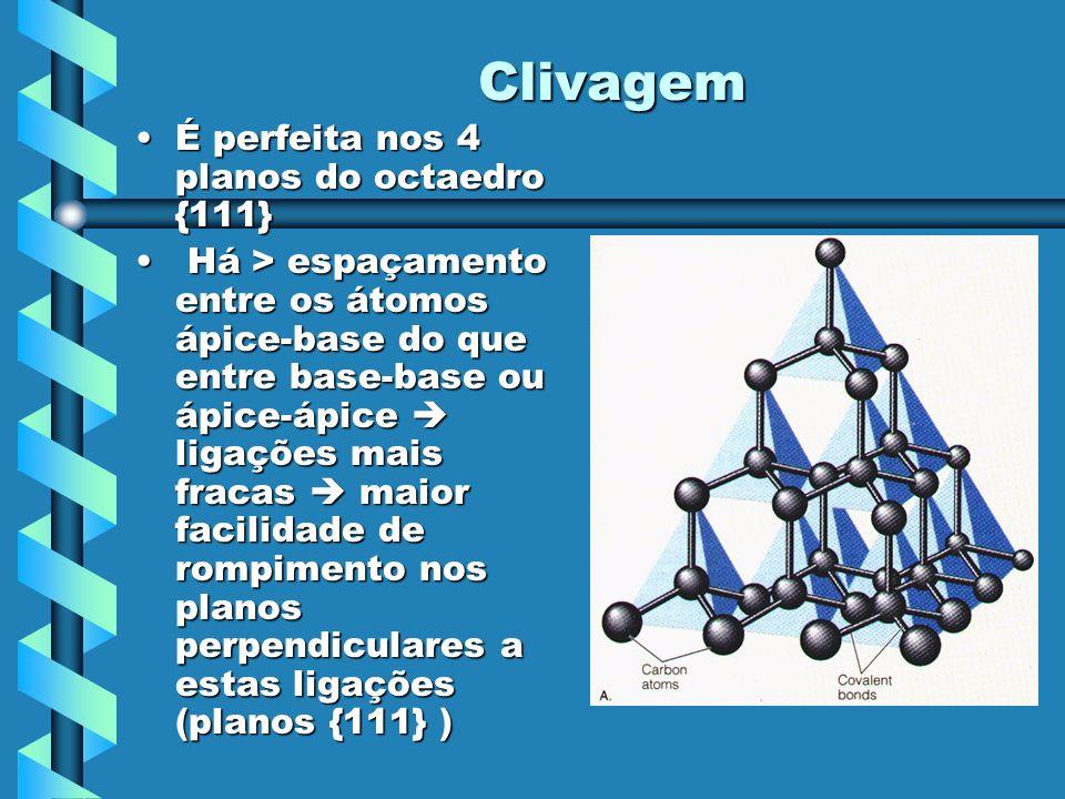 Clivagem É perfeita nos 4 planos do octaedro {111}É perfeita nos 4 planos do octaedro {111} Há > espaçamento entre os átomos ápice-base do que entre b