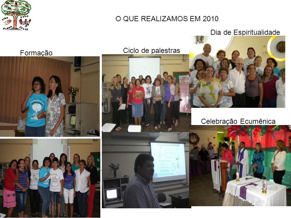 O QUE REALIZAMOS EM 2010 Formação Ciclo de palestras Dia de Espiritualidade Celebração Ecumênica