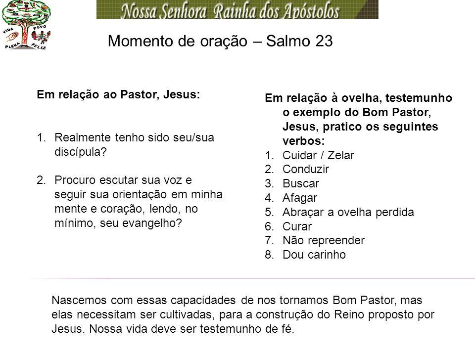 Momento de oração – Salmo 23 Em relação ao Pastor, Jesus: 1.Realmente tenho sido seu/sua discípula? 2.Procuro escutar sua voz e seguir sua orientação