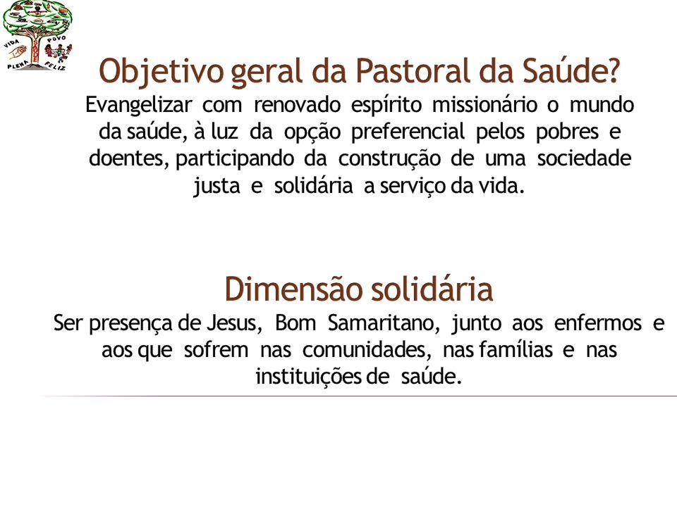 Agente de pastoral de saúde (visitador) Instituições hospitalares e associações Profissional da saúde Doente Bispo Sacerdote Vida religiosa hospitalar Ministros da eucaristia Comunidade Paroquial