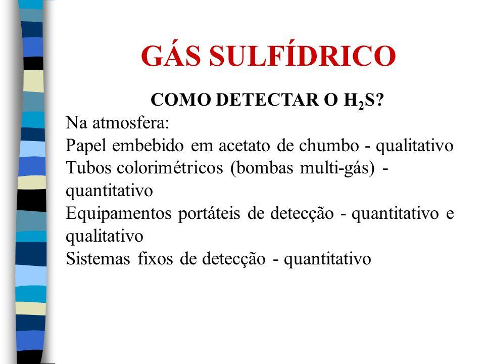 COMO DETECTAR O H 2 S? Na atmosfera: Papel embebido em acetato de chumbo - qualitativo Tubos colorimétricos (bombas multi-gás) - quantitativo Equipame