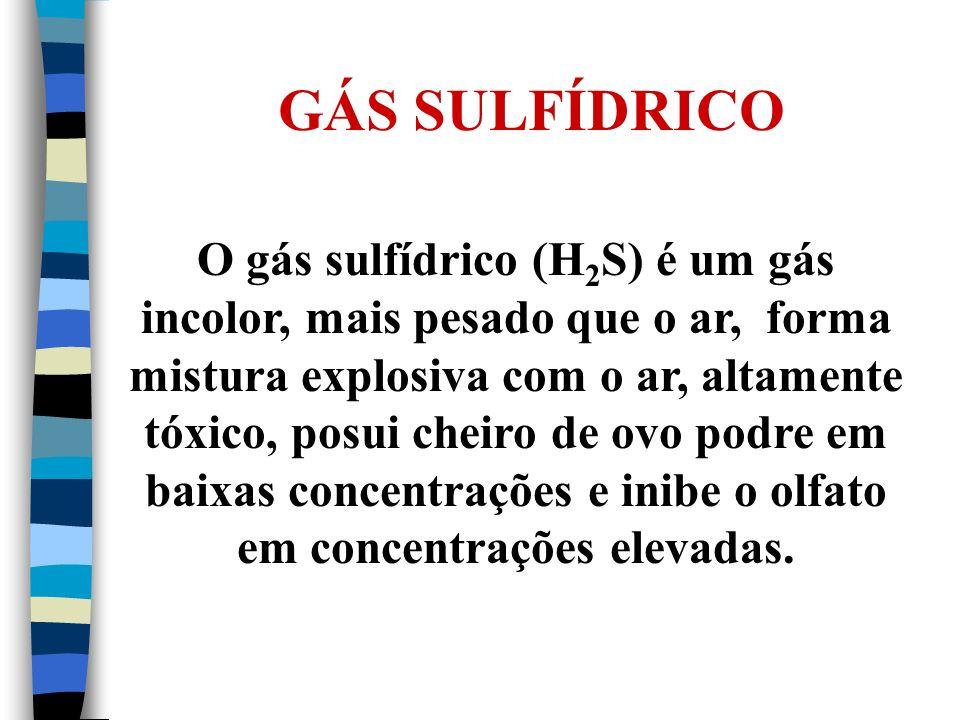 GÁS SULFÍDRICO O gás sulfídrico (H 2 S) é um gás incolor, mais pesado que o ar, forma mistura explosiva com o ar, altamente tóxico, posui cheiro de ov