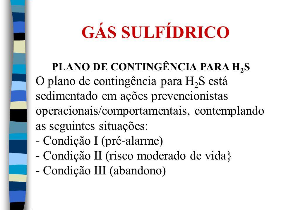 GÁS SULFÍDRICO PLANO DE CONTINGÊNCIA PARA H 2 S O plano de contingência para H 2 S está sedimentado em ações prevencionistas operacionais/comportament