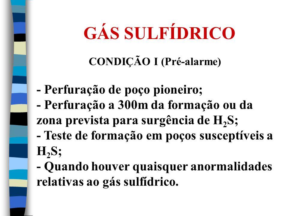 GÁS SULFÍDRICO CONDIÇÃO I (Pré-alarme) - Perfuração de poço pioneiro; - Perfuração a 300m da formação ou da zona prevista para surgência de H 2 S; - T
