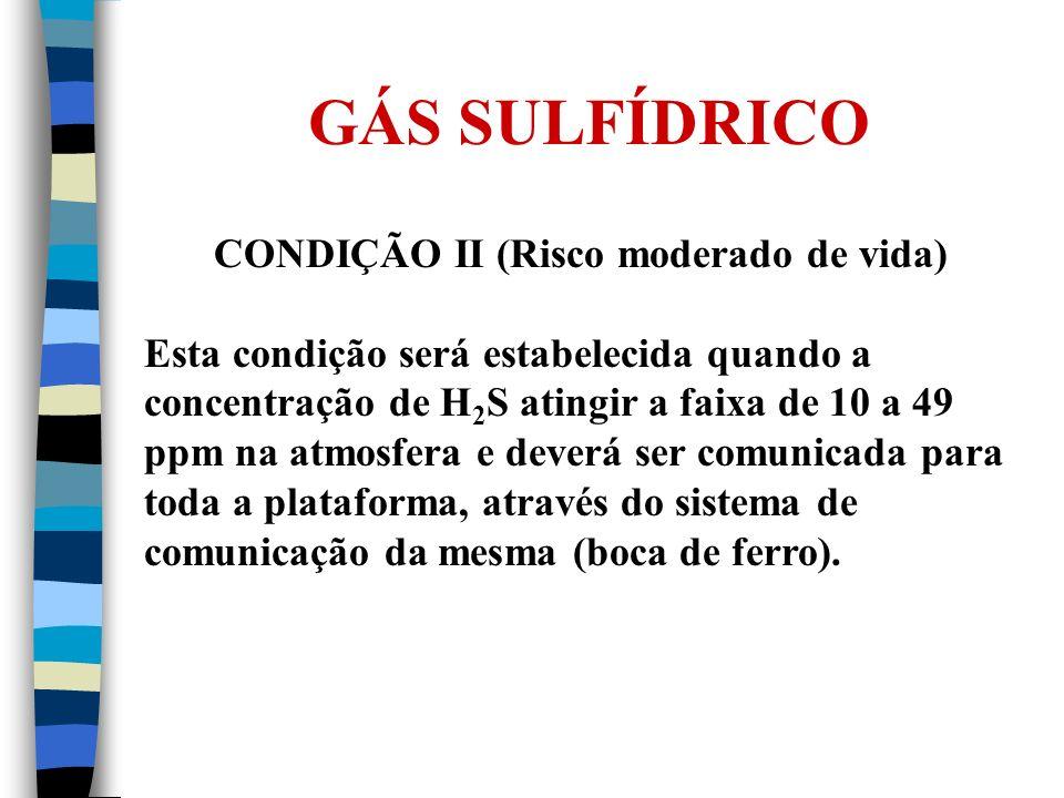 GÁS SULFÍDRICO CONDIÇÃO II (Risco moderado de vida) Esta condição será estabelecida quando a concentração de H 2 S atingir a faixa de 10 a 49 ppm na a