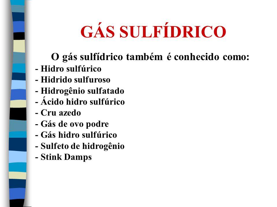 GÁS SULFÍDRICO O gás sulfídrico também é conhecido como: - Hidro sulfúrico - Hidrido sulfuroso - Hidrogênio sulfatado - Ácido hidro sulfúrico - Cru az