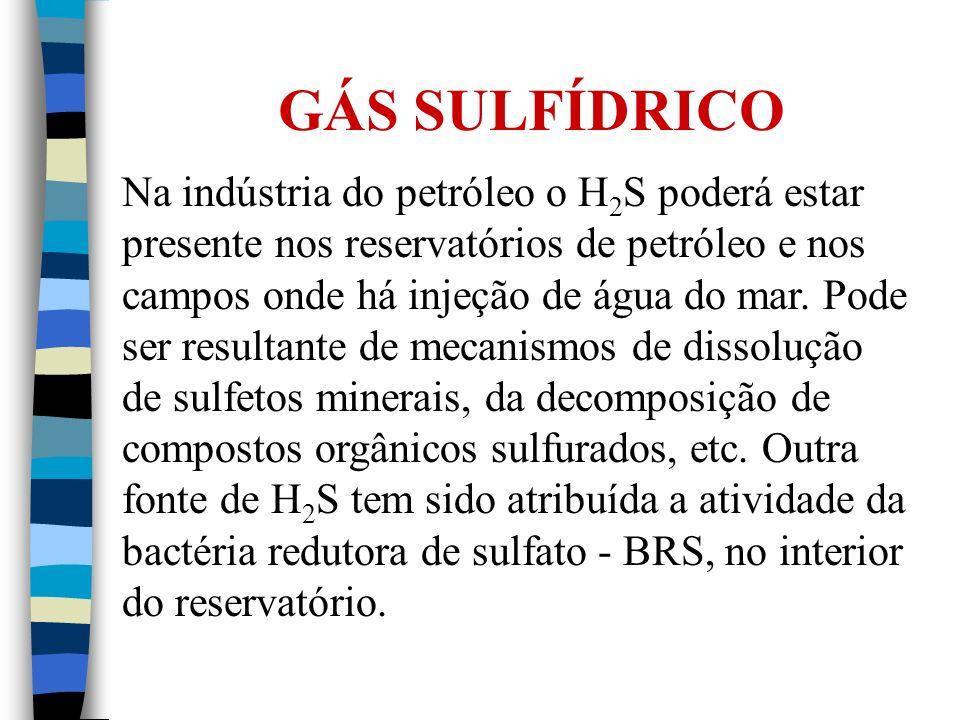 GÁS SULFÍDRICO Na indústria do petróleo o H 2 S poderá estar presente nos reservatórios de petróleo e nos campos onde há injeção de água do mar. Pode