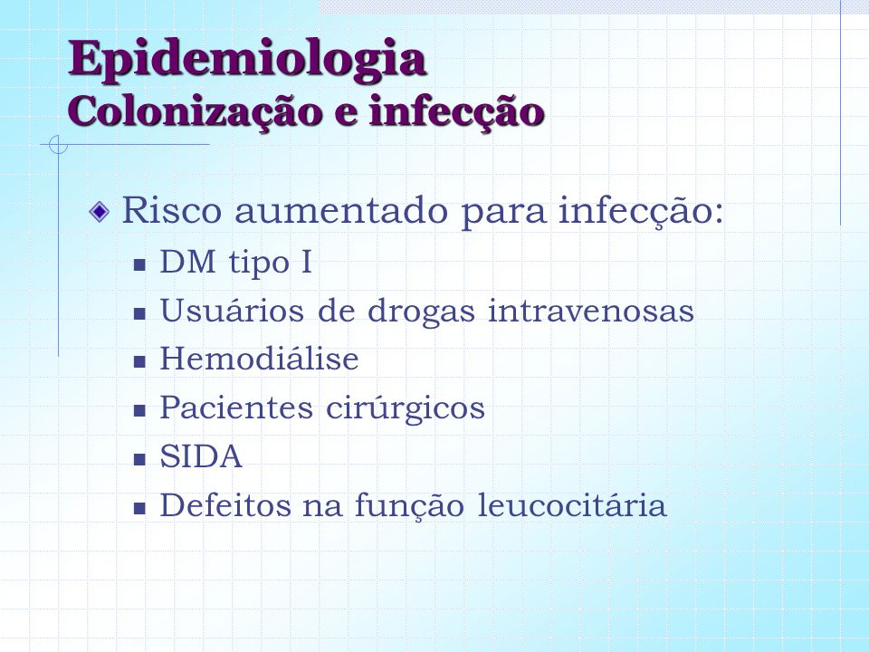 Epidemiologia Colonização e infecção Risco aumentado para infecção: DM tipo I Usuários de drogas intravenosas Hemodiálise Pacientes cirúrgicos SIDA De