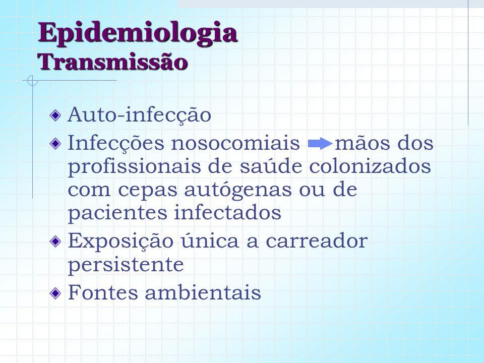 Epidemiologia Transmissão Auto-infecção Infecções nosocomiais mãos dos profissionais de saúde colonizados com cepas autógenas ou de pacientes infectad