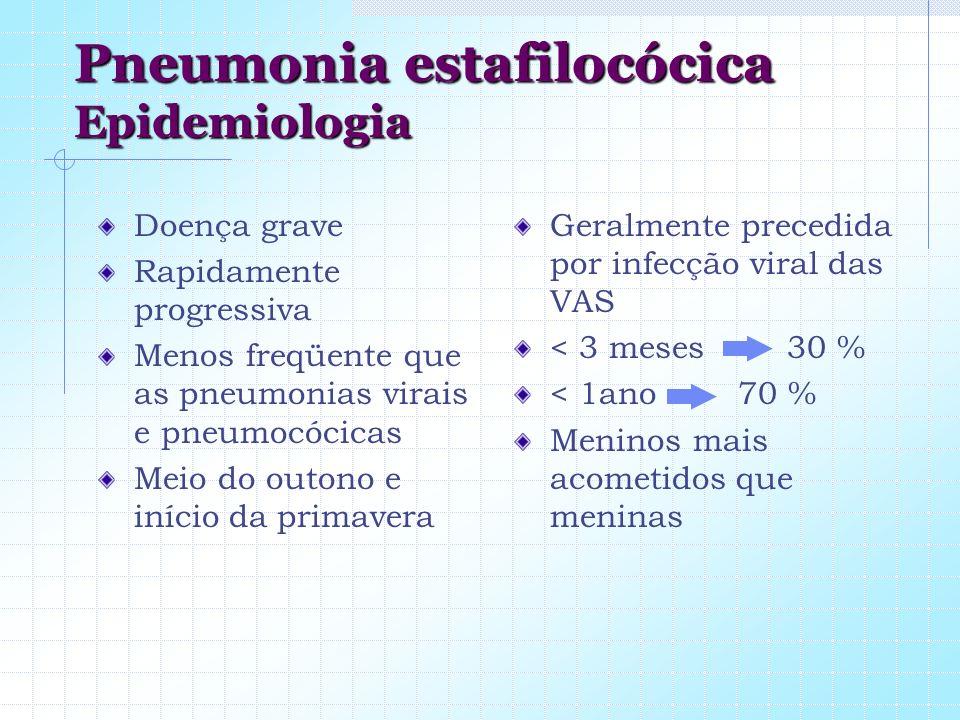 Pneumonia estafilocócica Epidemiologia Doença grave Rapidamente progressiva Menos freqüente que as pneumonias virais e pneumocócicas Meio do outono e