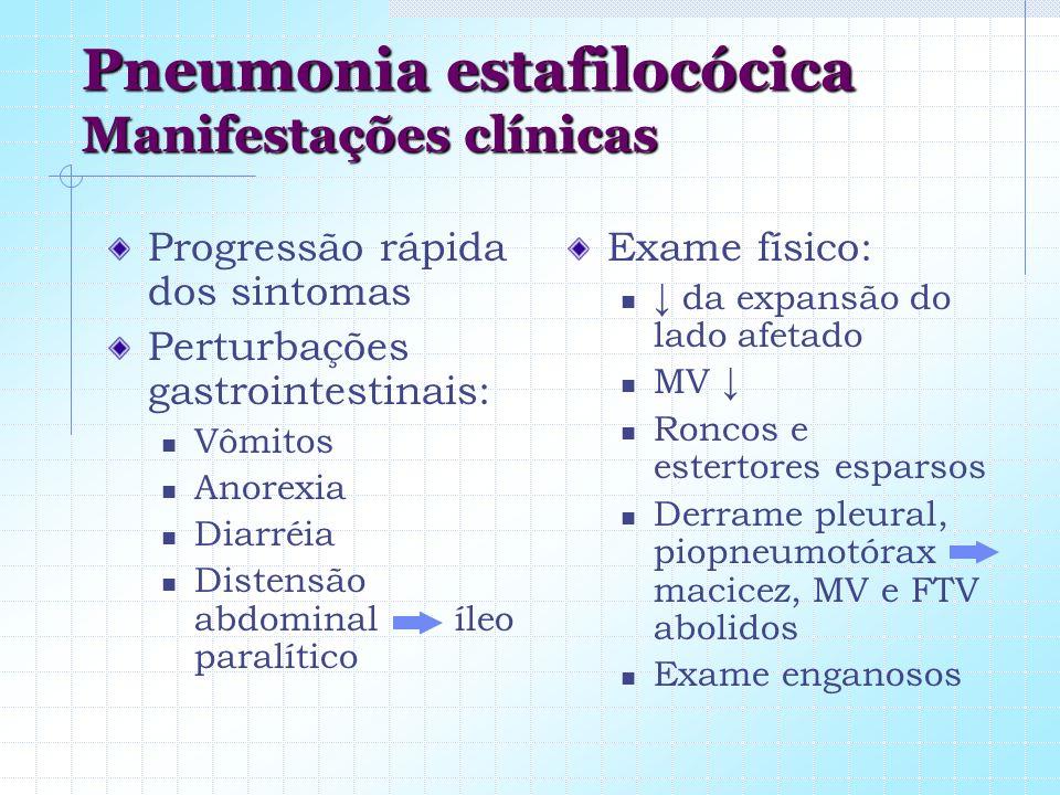 Pneumonia estafilocócica Manifestações clínicas Progressão rápida dos sintomas Perturbações gastrointestinais: Vômitos Anorexia Diarréia Distensão abd
