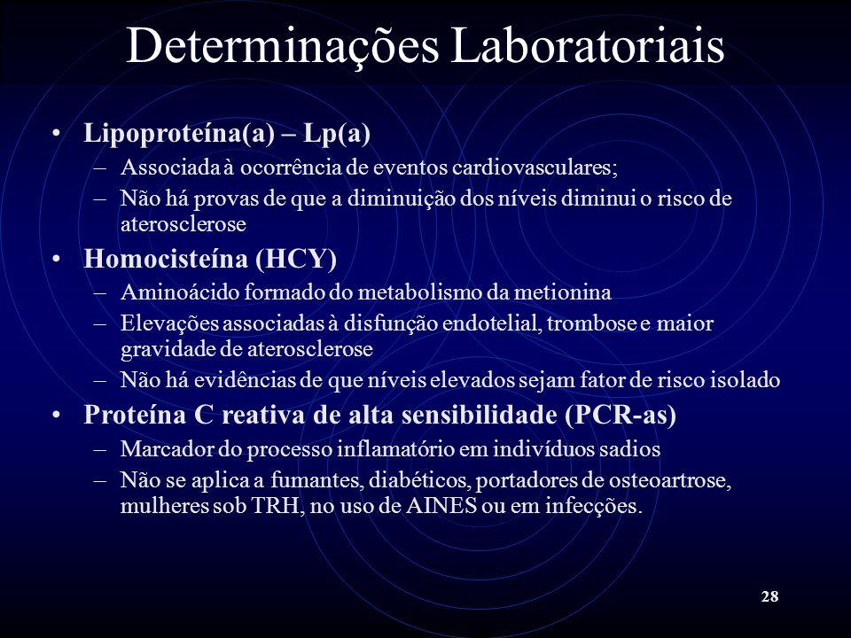 28 Determinações Laboratoriais Lipoproteína(a) – Lp(a) –Associada à ocorrência de eventos cardiovasculares; –Não há provas de que a diminuição dos nív