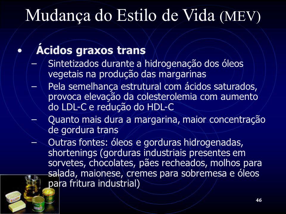 46 Mudança do Estilo de Vida (MEV) Ácidos graxos trans –Sintetizados durante a hidrogenação dos óleos vegetais na produção das margarinas –Pela semelh