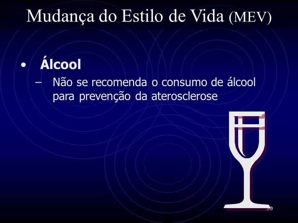 50 Mudança do Estilo de Vida (MEV) Álcool –Não se recomenda o consumo de álcool para prevenção da aterosclerose
