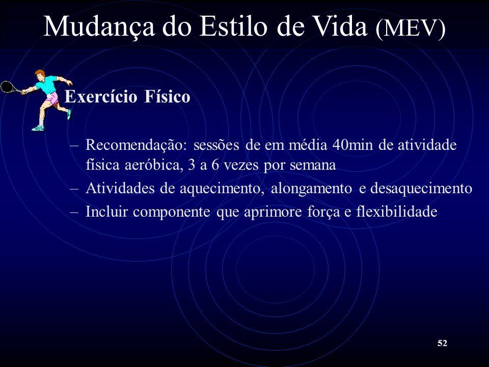 52 Mudança do Estilo de Vida (MEV) Exercício Físico –Recomendação: sessões de em média 40min de atividade física aeróbica, 3 a 6 vezes por semana –Ati