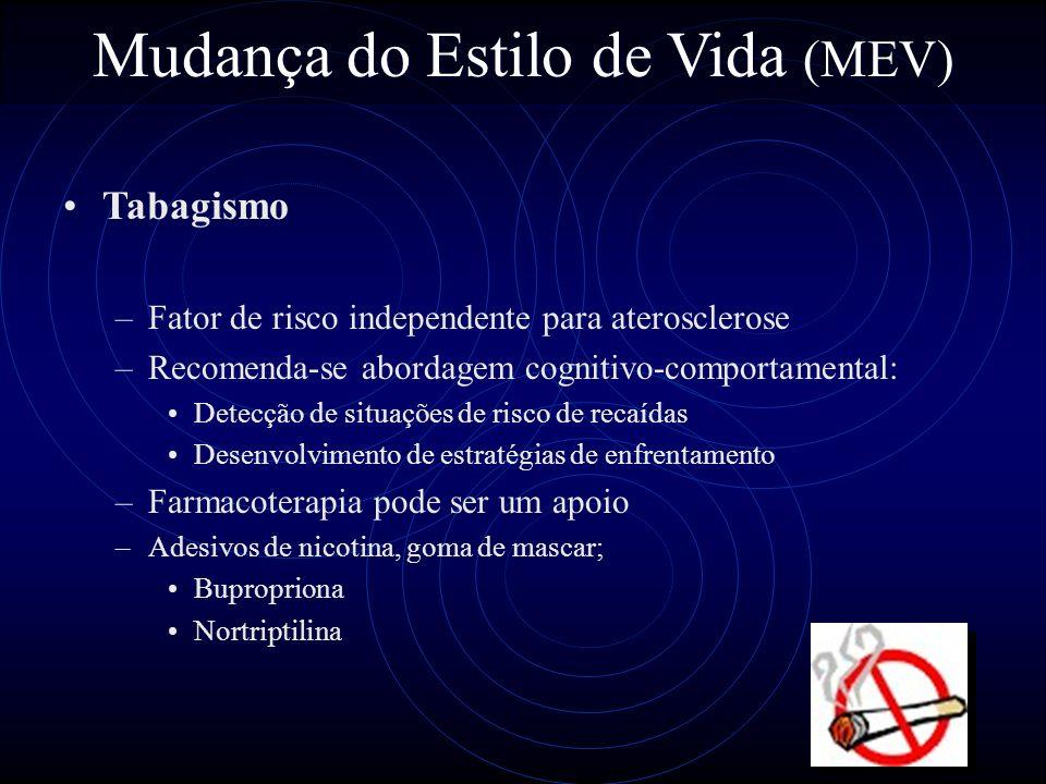 53 Mudança do Estilo de Vida (MEV) Tabagismo –Fator de risco independente para aterosclerose –Recomenda-se abordagem cognitivo-comportamental: Detecçã