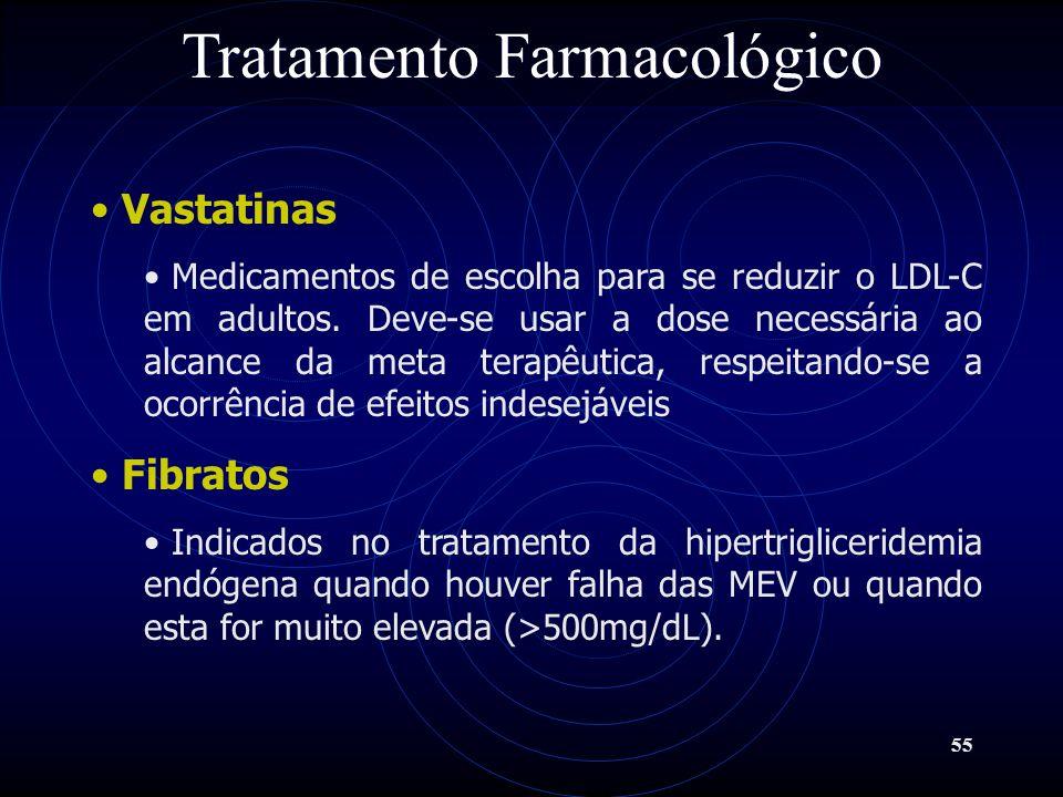 55 Tratamento Farmacológico Vastatinas Medicamentos de escolha para se reduzir o LDL-C em adultos. Deve-se usar a dose necessária ao alcance da meta t