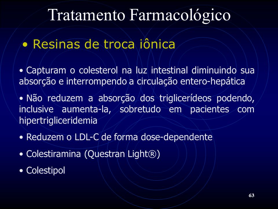 63 Tratamento Farmacológico Resinas de troca iônica Capturam o colesterol na luz intestinal diminuindo sua absorção e interrompendo a circulação enter