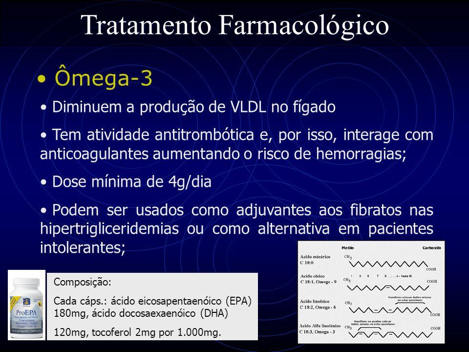 69 Tratamento Farmacológico Ômega-3 Diminuem a produção de VLDL no fígado Tem atividade antitrombótica e, por isso, interage com anticoagulantes aumen