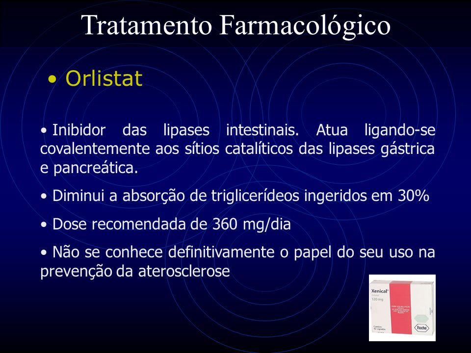 70 Tratamento Farmacológico Orlistat Inibidor das lipases intestinais. Atua ligando-se covalentemente aos sítios catalíticos das lipases gástrica e pa