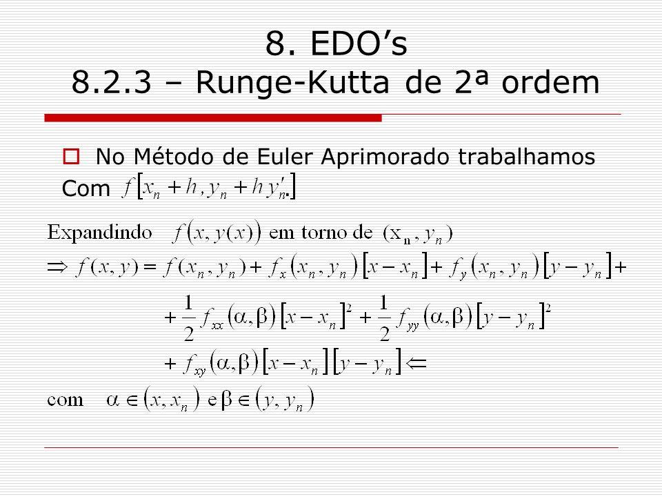 8. EDOs 8.2.3 – Runge-Kutta de 2ª ordem No Método de Euler Aprimorado trabalhamos Com.