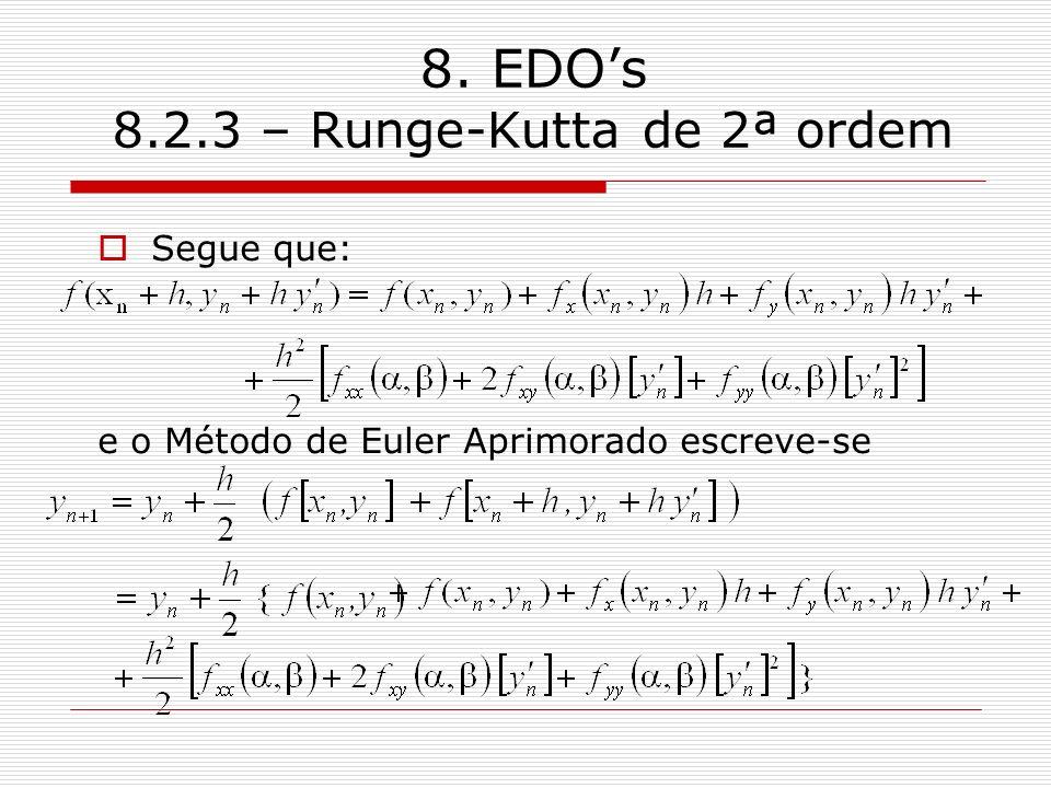 8. EDOs 8.2.3 – Runge-Kutta de 2ª ordem Segue que: e o Método de Euler Aprimorado escreve-se