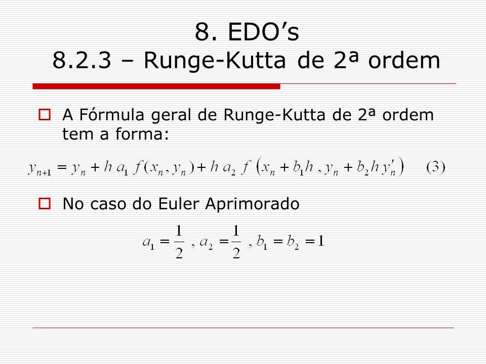 8. EDOs 8.2.3 – Runge-Kutta de 2ª ordem A Fórmula geral de Runge-Kutta de 2ª ordem tem a forma: No caso do Euler Aprimorado