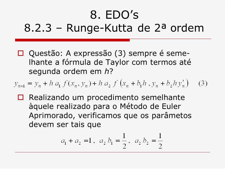8. EDOs 8.2.3 – Runge-Kutta de 2ª ordem Questão: A expressão (3) sempre é seme- lhante a fórmula de Taylor com termos até segunda ordem em h? Realizan