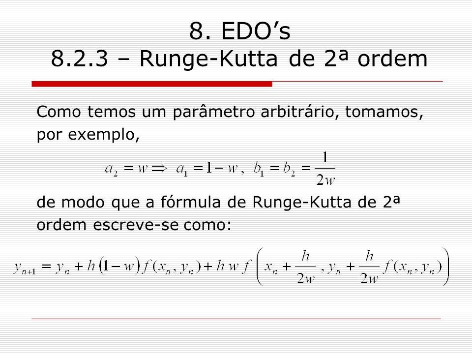 8. EDOs 8.2.3 – Runge-Kutta de 2ª ordem Como temos um parâmetro arbitrário, tomamos, por exemplo, de modo que a fórmula de Runge-Kutta de 2ª ordem esc