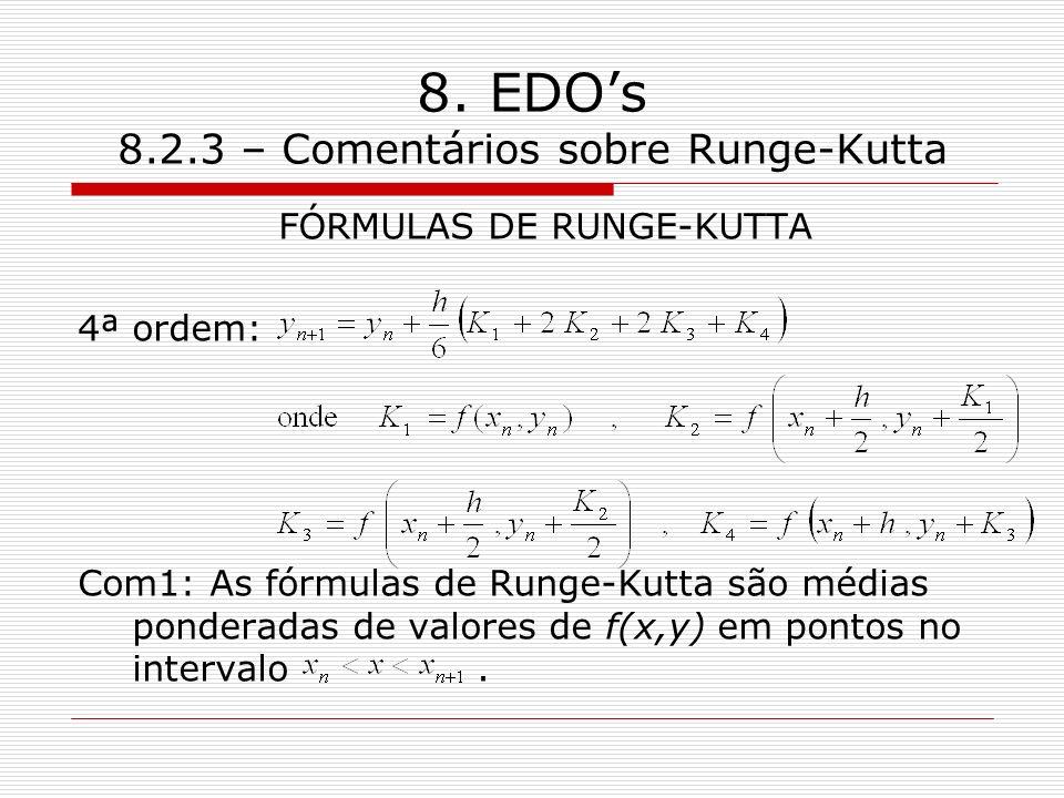 8. EDOs 8.2.3 – Comentários sobre Runge-Kutta FÓRMULAS DE RUNGE-KUTTA 4ª ordem: Com1: As fórmulas de Runge-Kutta são médias ponderadas de valores de f