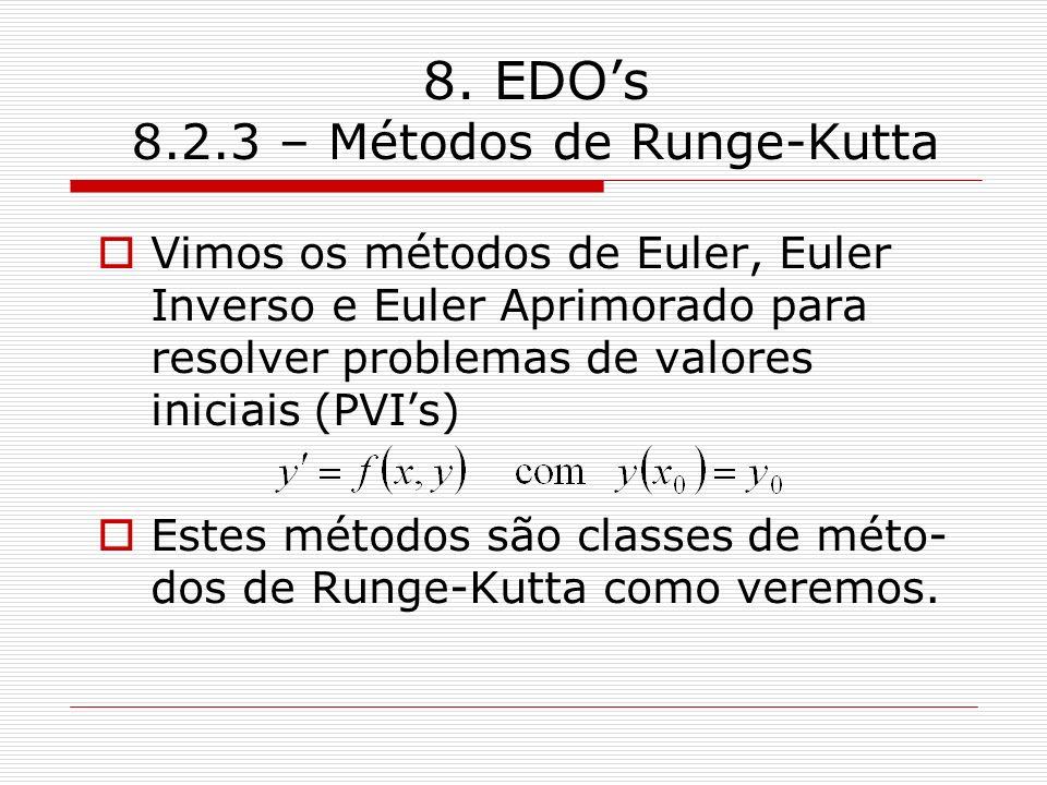 8. EDOs 8.2.3 – Métodos de Runge-Kutta Vimos os métodos de Euler, Euler Inverso e Euler Aprimorado para resolver problemas de valores iniciais (PVIs)