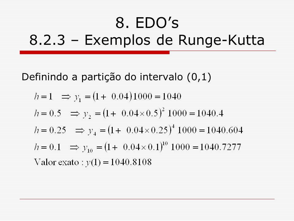 8. EDOs 8.2.3 – Exemplos de Runge-Kutta Definindo a partição do intervalo (0,1)