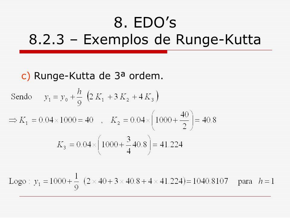 8. EDOs 8.2.3 – Exemplos de Runge-Kutta c) Runge-Kutta de 3ª ordem.
