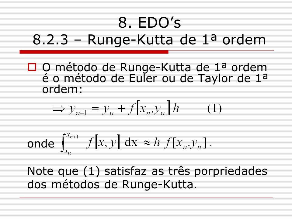 8. EDOs 8.2.3 – Runge-Kutta de 1ª ordem O método de Runge-Kutta de 1ª ordem é o método de Euler ou de Taylor de 1ª ordem: onde Note que (1) satisfaz a