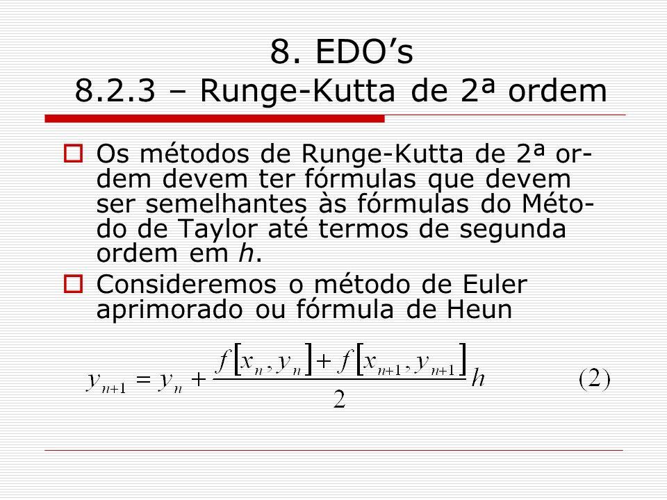 8. EDOs 8.2.3 – Runge-Kutta de 2ª ordem Os métodos de Runge-Kutta de 2ª or- dem devem ter fórmulas que devem ser semelhantes às fórmulas do Méto- do d