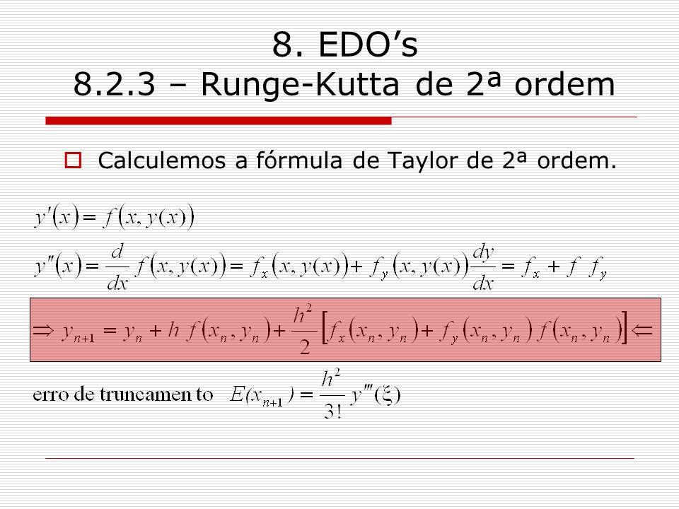 8. EDOs 8.2.3 – Runge-Kutta de 2ª ordem Calculemos a fórmula de Taylor de 2ª ordem.