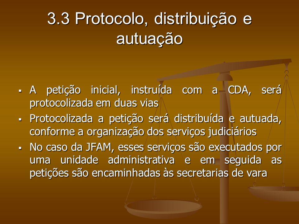 3.3 Protocolo, distribuição e autuação A petição inicial, instruída com a CDA, será protocolizada em duas vias A petição inicial, instruída com a CDA,