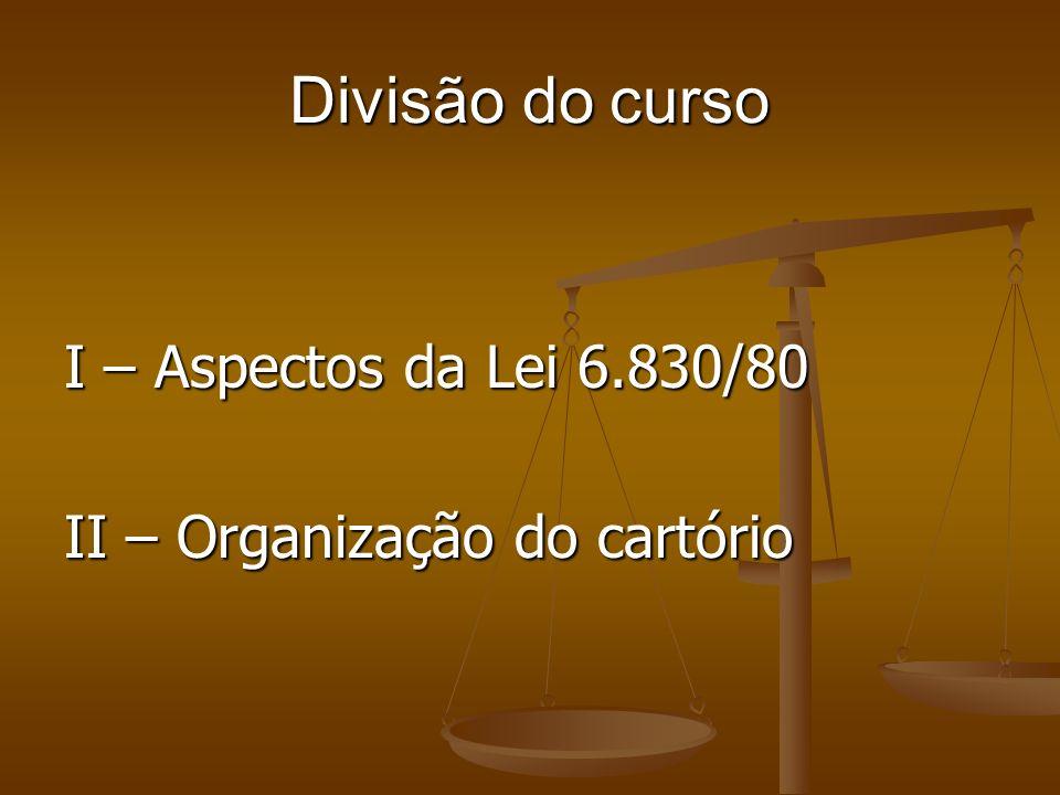 Divisão do curso I – Aspectos da Lei 6.830/80 II – Organização do cartório
