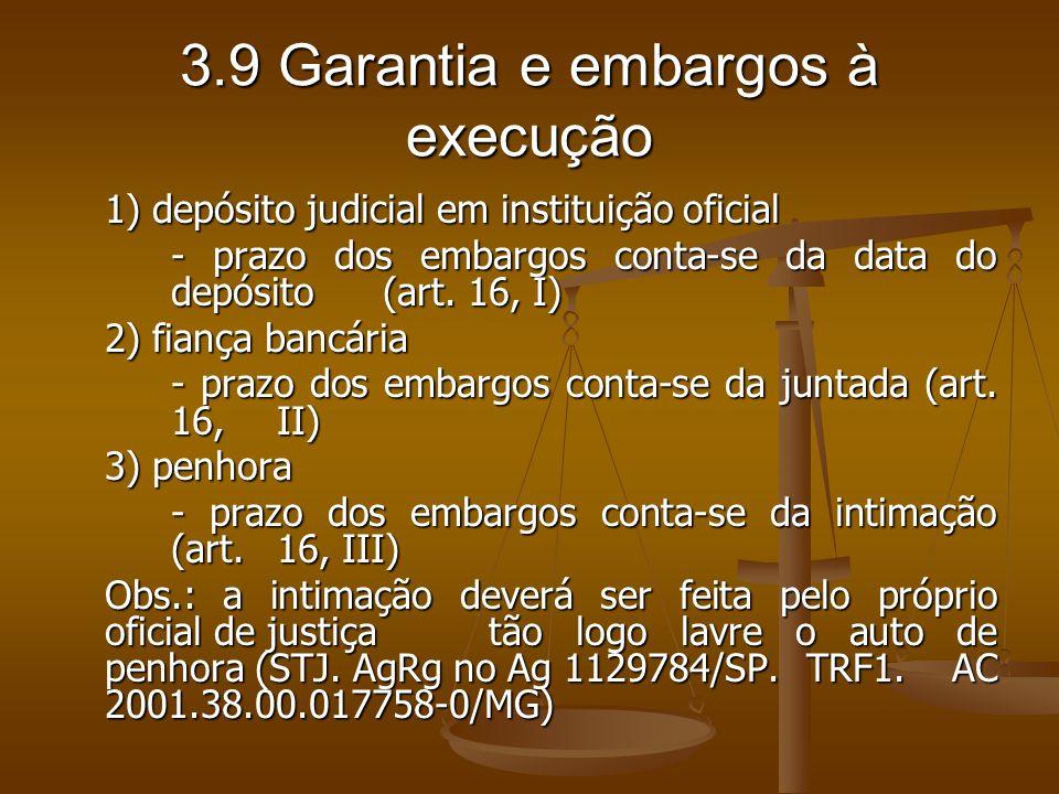 3.9 Garantia e embargos à execução 1) depósito judicial em instituição oficial - prazo dos embargos conta-se da data do depósito (art. 16, I) 2) fianç