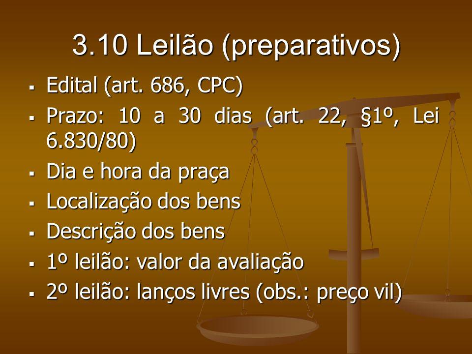 3.10 Leilão (preparativos) Edital (art. 686, CPC) Edital (art. 686, CPC) Prazo: 10 a 30 dias (art. 22, §1º, Lei 6.830/80) Prazo: 10 a 30 dias (art. 22
