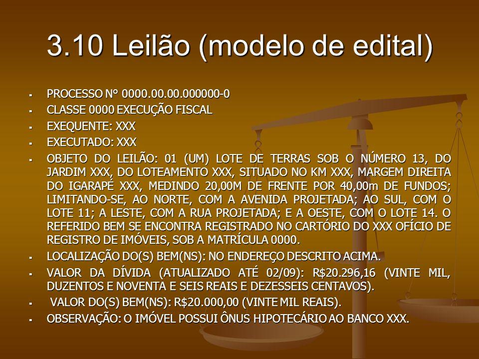 3.10 Leilão (modelo de edital) PROCESSO N° 0000.00.00.000000-0 PROCESSO N° 0000.00.00.000000-0 CLASSE 0000 EXECUÇÃO FISCAL CLASSE 0000 EXECUÇÃO FISCAL